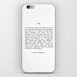 Life quote F. Scott Fitzgerald iPhone Skin
