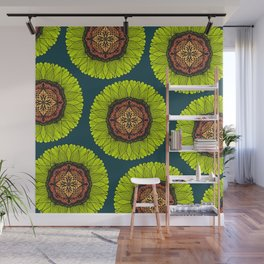 Artsy Summer Neon Yellow Lace Sunflower Wall Mural