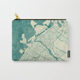 Dubai Map Blue Vintage Carry-All Pouch