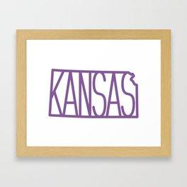 State of Kansas Typography - Purple Framed Art Print