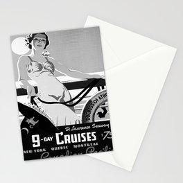 retro monochrome 9 day cruises Stationery Cards