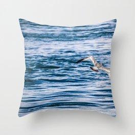 Bird flying across the Niagara river Throw Pillow