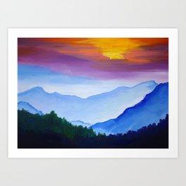 Smokey Mountain Sunset Art Print