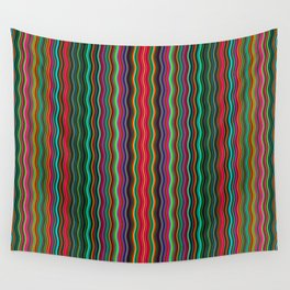 Beautiful Colorful Multicolored Wavy Stripes Wall Tapestry