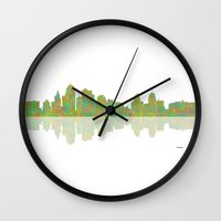 kansas city Wall Clocks featuring Kansas City Skyline by Marlene Watson