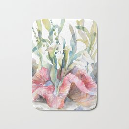 White Calla Lily and Corals Seaweed Watercolor Surreal Botanical Underwater Bath Mat