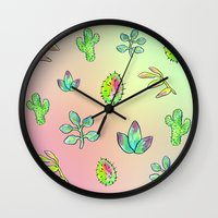 cacti Wall Clocks featuring Cacti  by Brettisagirl