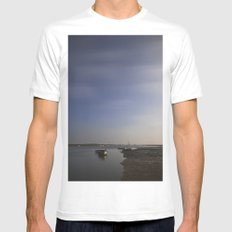Moonlight on boats under a star filled sky. Brancaster Staithe, Norfolk, UK. Mens Fitted Tee MEDIUM White