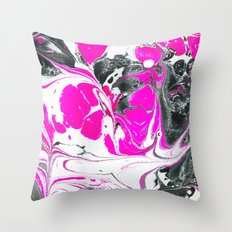 Abstract Neon Pink Black Cute Watercolor Swirls Throw Pillow