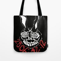 donnie darko Tote Bags featuring Donnie Darko countdown by Joshua S