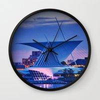 milwaukee Wall Clocks featuring Milwaukee Art Museum by Alaina Abplanalp