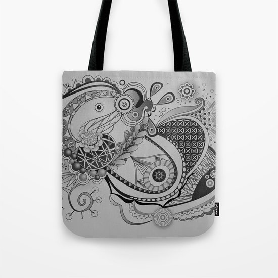 Ornate spring tangle, charcoal grey Tote Bag