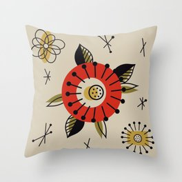 Red Mid Century Modern Flower  Throw Pillow