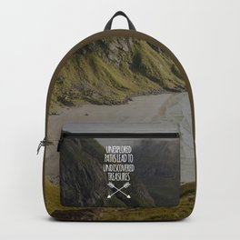 Unexplored Paths Travel Quote Backpack