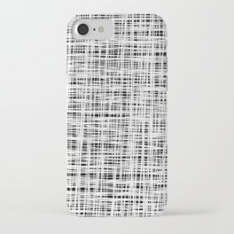 Hand drawn Lines Pattern-White on Black - Mix & Match with Simplicity of life iPhone Case