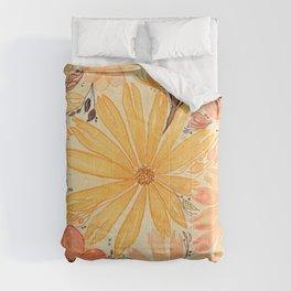 Fall Warm and Neutral Mixed Flowers for Fall in Watercolor and Ink Design Comforters