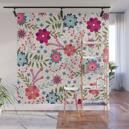 Colorful Floral Spring Pattern Wall Mural