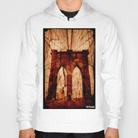 brooklyn bridge Hoodies featuring Brooklyn Bridge by Del Vecchio Art by Aureo Del Vecchio