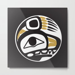 Northwest Pacific American Native Totem In Gold No. 6 Metal Print