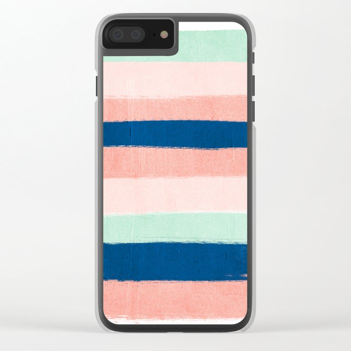 Painted stripes pattern minimal basic nursery decor home trends colorful art Clear iPhone Case