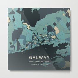 Galway, Ireland - Cream Blue Metal Print
