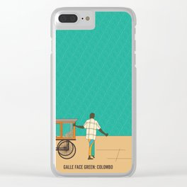 Tropical Life in Vintage Blue Clear iPhone Case
