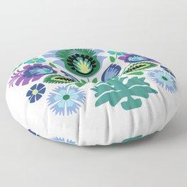 Polish Folk Flowers Light Blue Floor Pillow