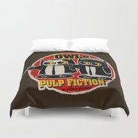 quentin tarantino Duvet Covers featuring Owls Pulp Fiction by Lime
