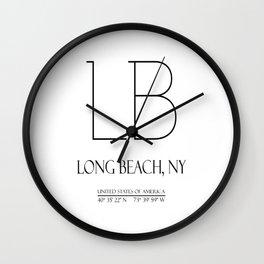 Long Beach NY Coordinates Wall Clock