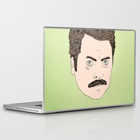 ron swanson Laptop & iPad Skins featuring Ron Swanson by Chase Kunz