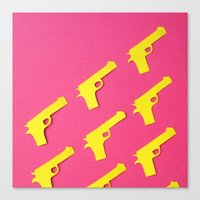 guns Canvas Prints featuring Guns Papercut by Sally Eyeballs