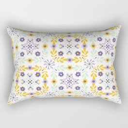 Floral Quilt Leaf Folk Vector Pattern Rectangular Pillow
