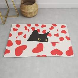 Black Cat Hiding in the Hearts Rug