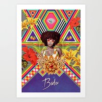 erykah badu Art Prints featuring ERYKAH BADU by Gabriel Martins