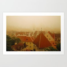 Misty Rooftops  Art Print