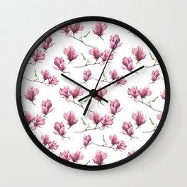 Watercolor magnolia Wall Clock