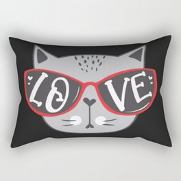 Valentine Cat LOVE YOU in sunglass on black background Rectangular Pillow