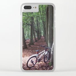 Bike in the woodland Clear iPhone Case