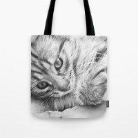 kitten Tote Bags featuring Kitten by Olechka
