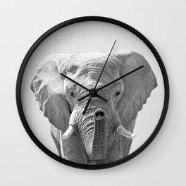 Elephant - Black & White Wall Clock