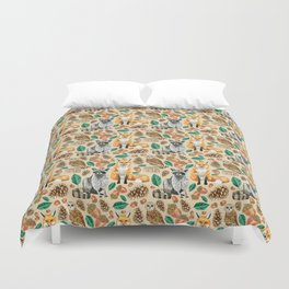 Woodland Creatures Illustrated Watercolor Pattern Duvet Cover