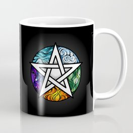 Bright Pentagram on Black Background Coffee Mug