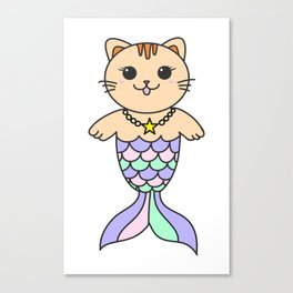 Mermaid cat, mermaid tail, baby mermaid, pastel mermaid, mercat Canvas Print
