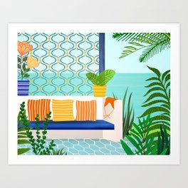 Sanctuary - Tropical Garden Villa Art Print