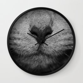 CAT NOSE IN BLACK AND WHITE Wall Clock