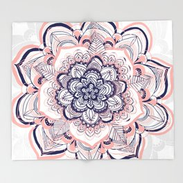 Woven Dream - Mandala in Pink, White and deep Purple Throw Blanket