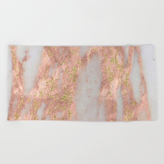 Rose Gold Marble with Yellow Gold Glitter Beach Towel