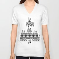 whisky V-neck T-shirts featuring WHISKY AZTEC B/W  by Kiley Victoria