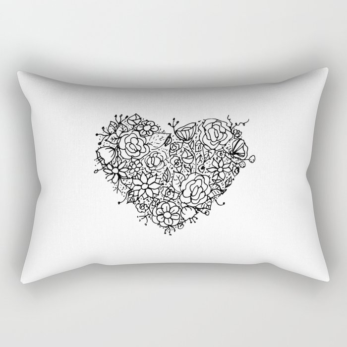 Floral Heart Doodle Illustration Art Rectangular Pillow