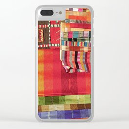 V27 Multi Colored Traditional Moroccan Lovely Textile Texture. Clear iPhone Case